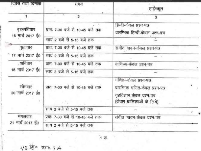 uttar-pradesh-x-board-exam-time-table-2017