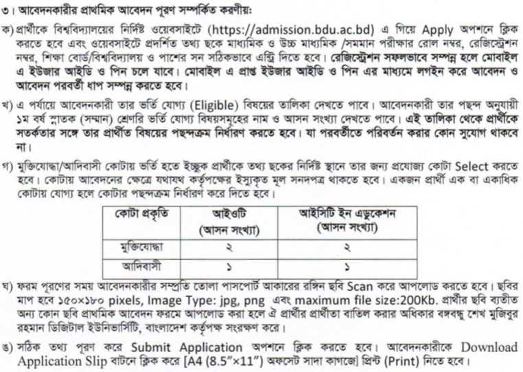 Bangabandhu Digital University Application Process
