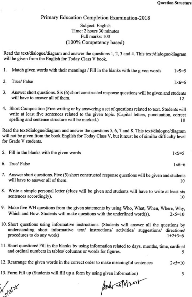 PSC Question English