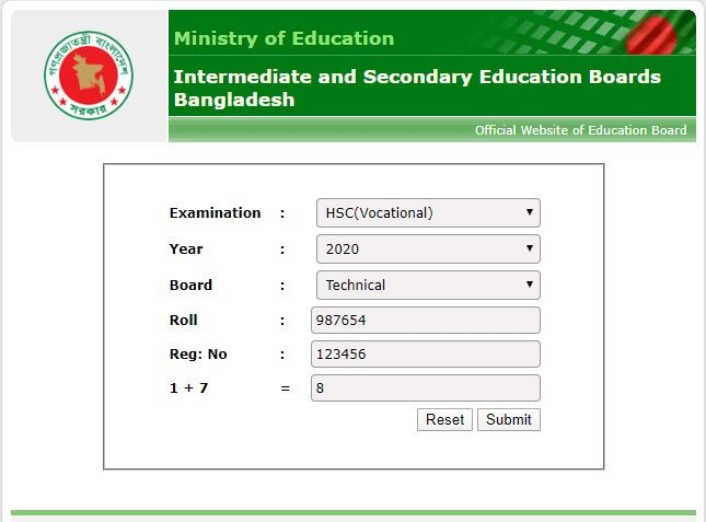 hsc vocational result educationboard