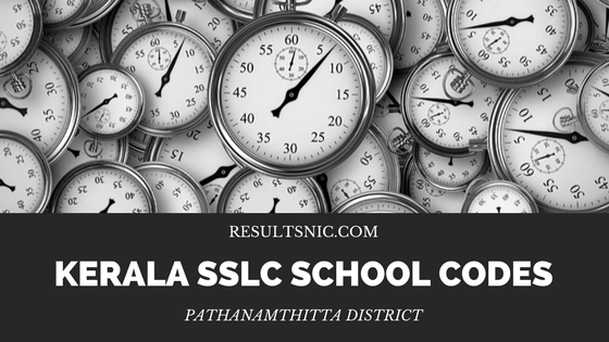 Kerala SSLC School Codes Pathanamthitta District