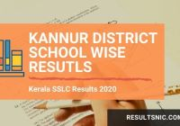 Kerala SSLC School Wise results Kannur District 2020