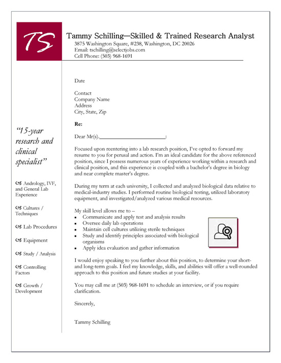 cover letter biology research