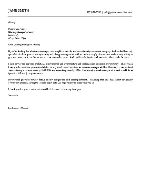 Business Cover Letter Example