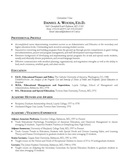 Academic CV Example  Teacher Professor
