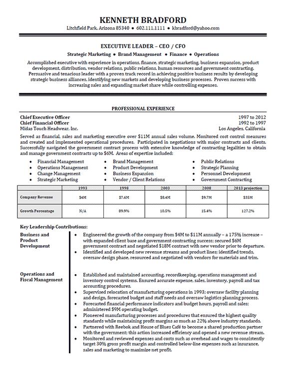High Level Executive Resume Example Sample