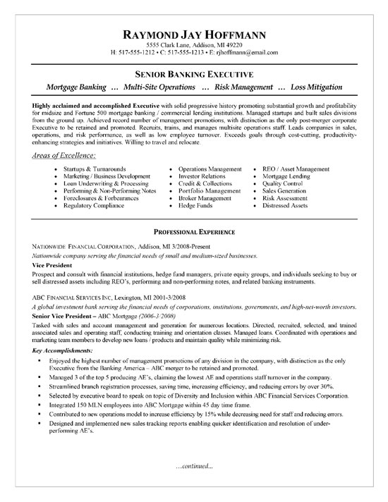 mortgage banking resume examples