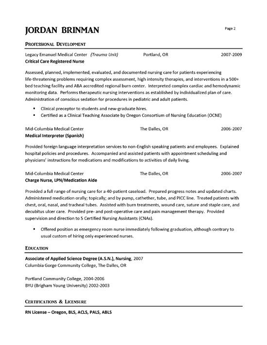 sample charge nurse resume