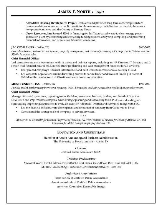 resume for financial advisor