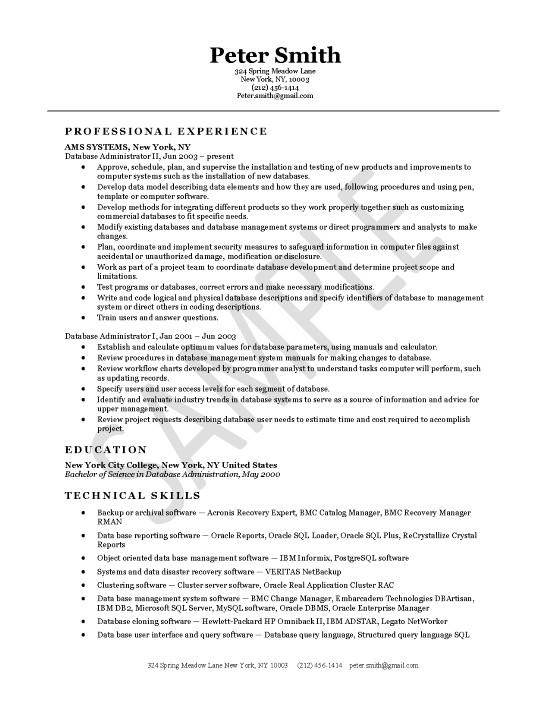 database lead resume