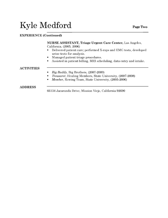 example of resume for grad school