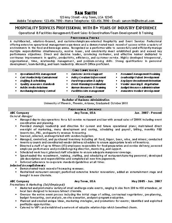 hospitality management resume examples