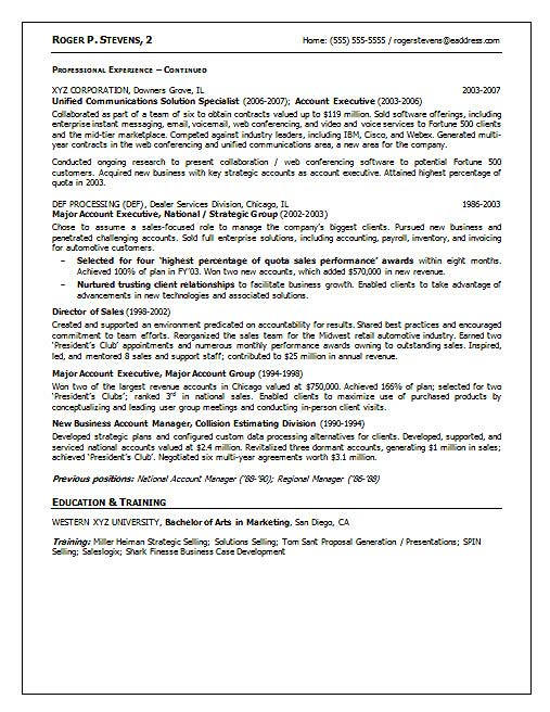 resume with key accomplishments