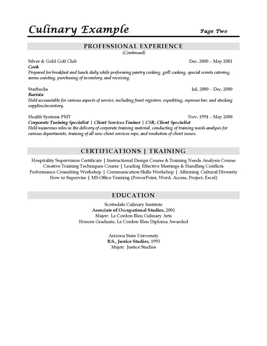 Sous Chef Resume Example