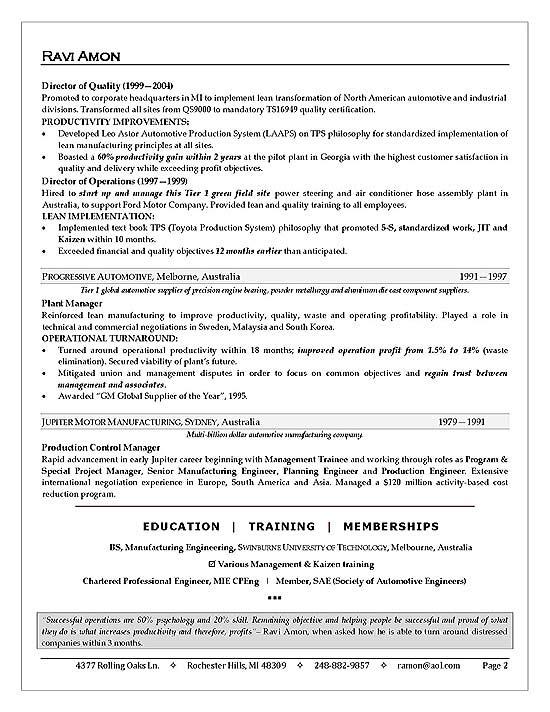 sample resume with summary