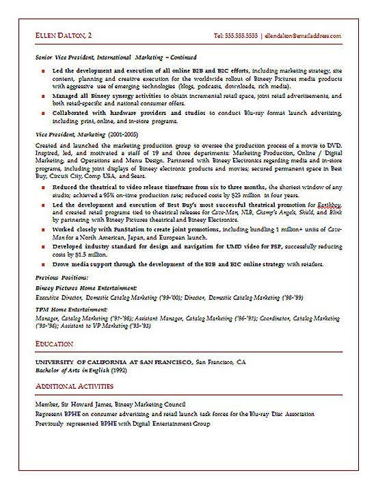 online marketing executive resume sample
