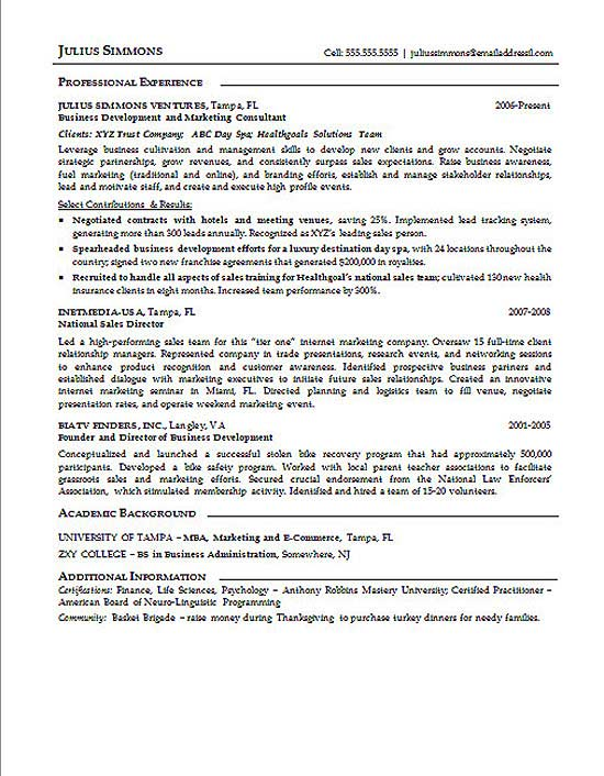 example of marketing graduate resume