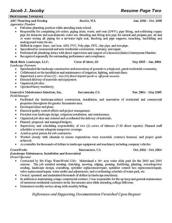plumber job resume sample