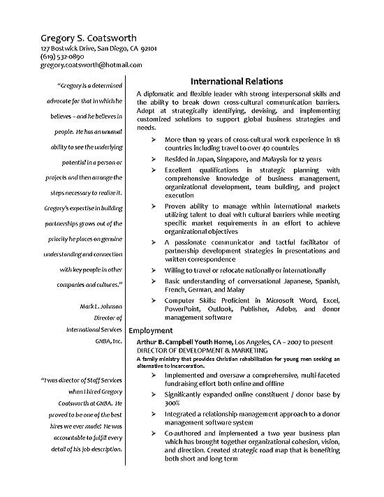 international experience resume example