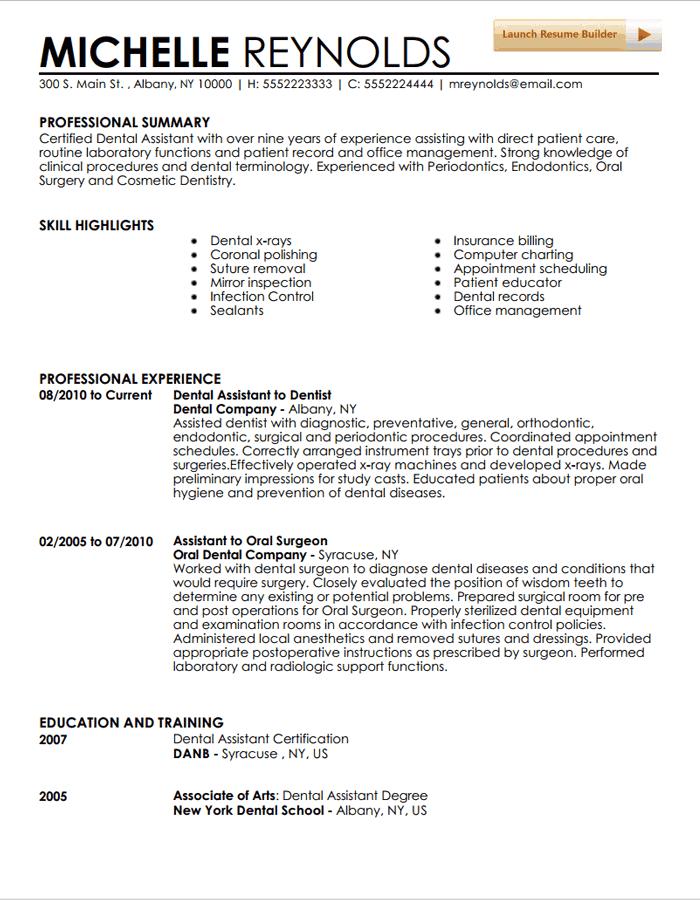 Sample Resumes For Dental Assistants Hospi Noiseworks Co