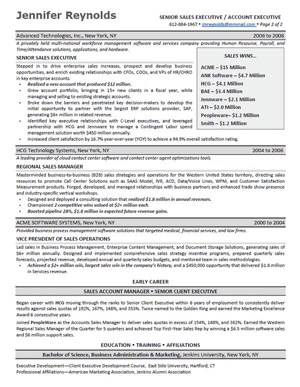 enterprise sales representative sample resume