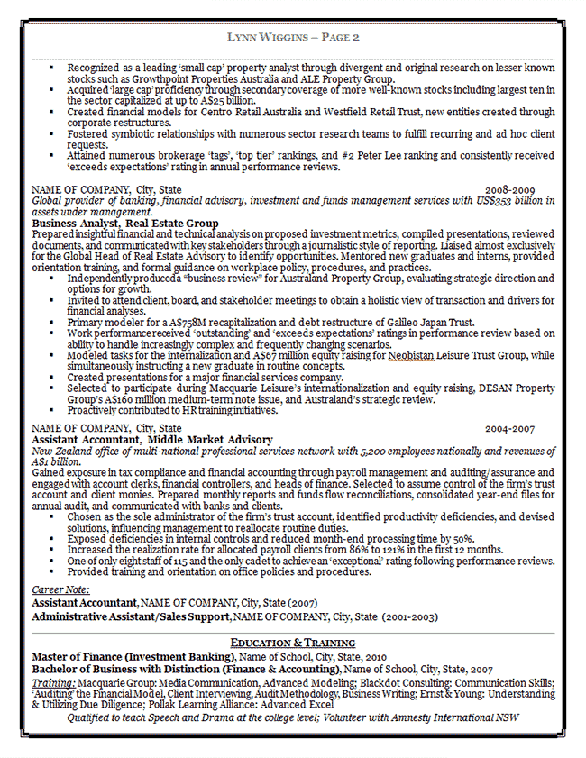 example of resume bullet points