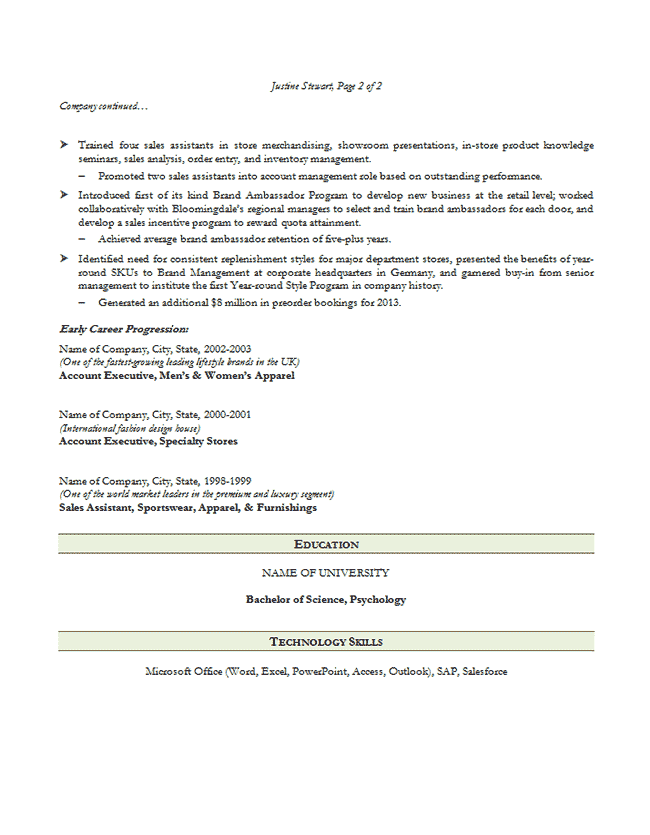 sales executive sample resume