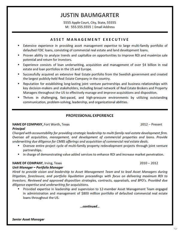 real estate project manager resume sample