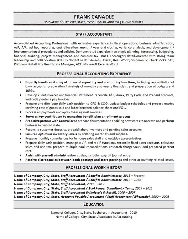 Staff Accountant Resume Example