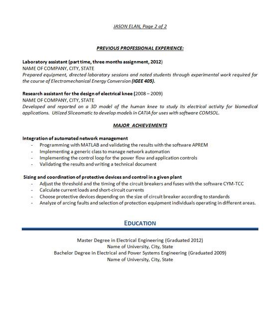 Resume Example Engineer