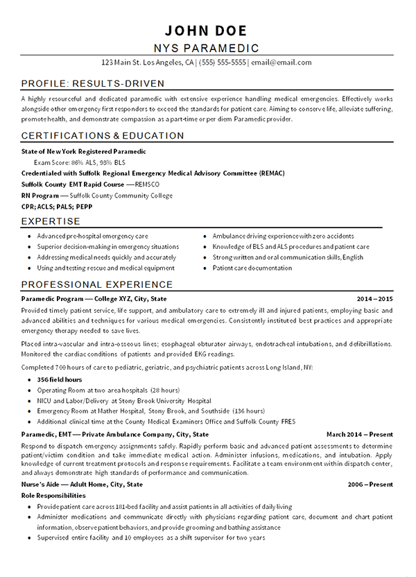 EMT Paramedic Resume Example