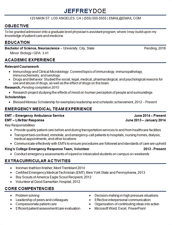 sample medical residency resume
