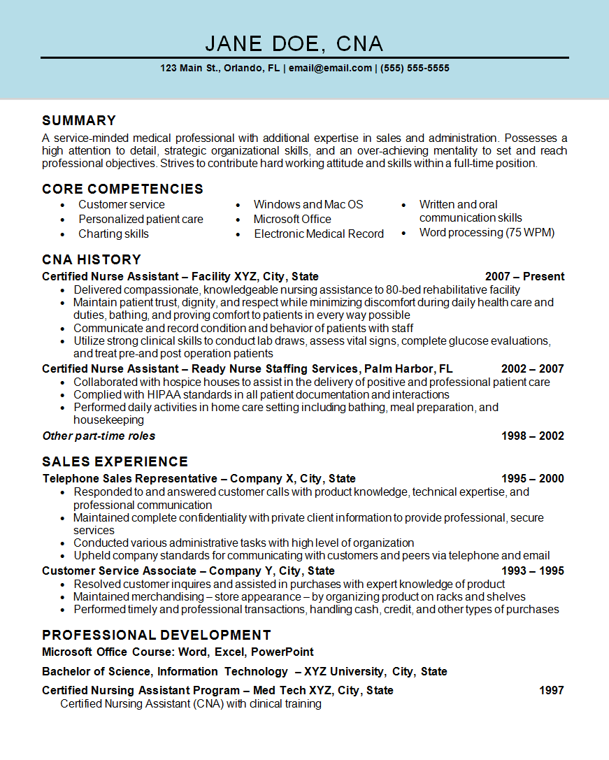 Nurse Assistant CNA Resume Example