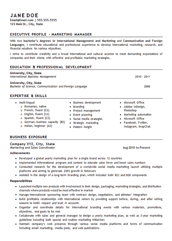 Marketing Manager Resume Example International Management