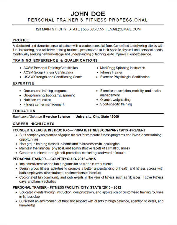 Sports Fitness Resume Example Exercise Instructor & Trainer