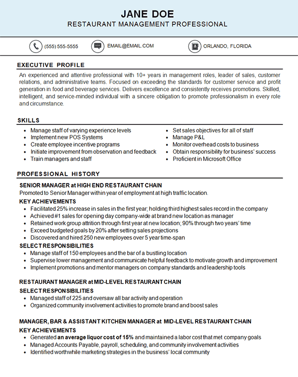 Restaurant Resume Example Kitchen Food Industry