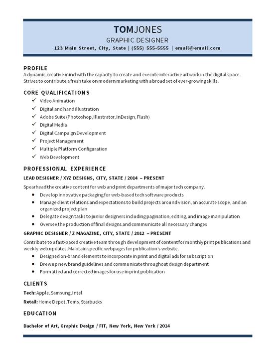 Resume Profile Examples Graphic Designer Graphic Design