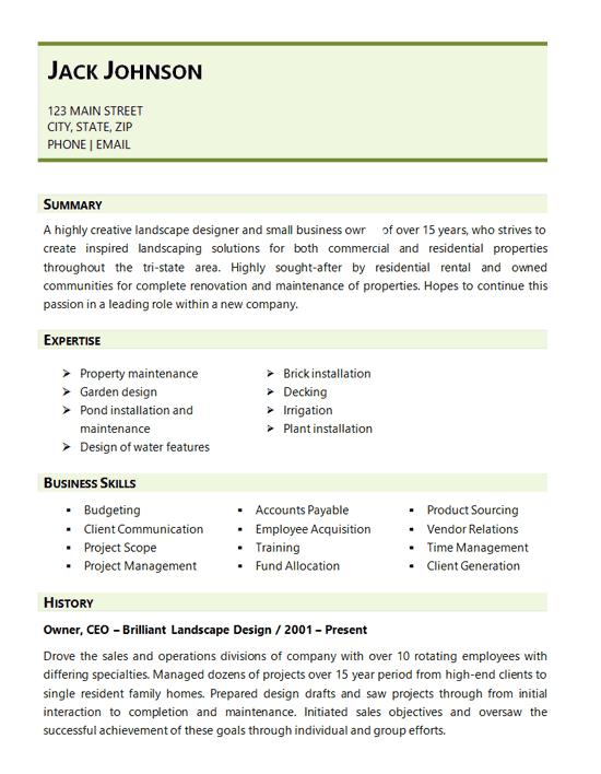 landscape designer resume sample