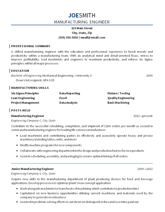 manufacturing engineer mid career resume example