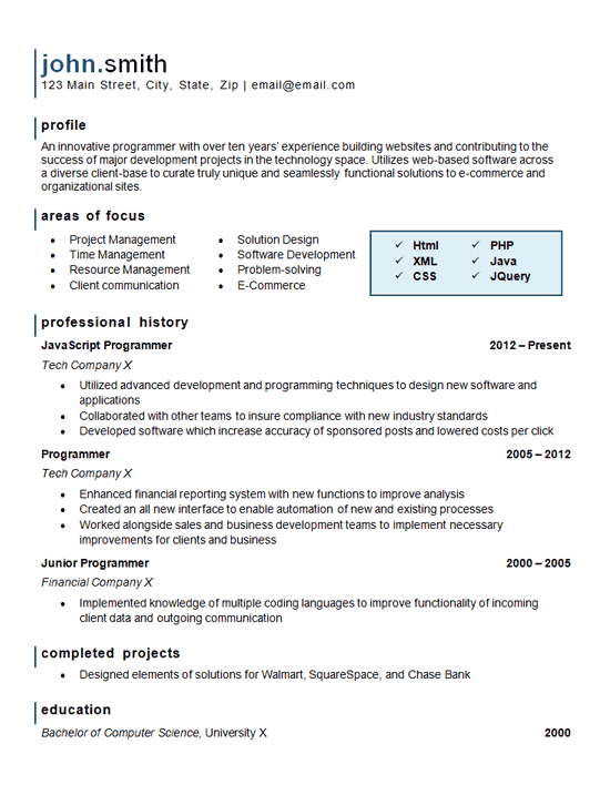 Computer Programming Resume Example Website Software