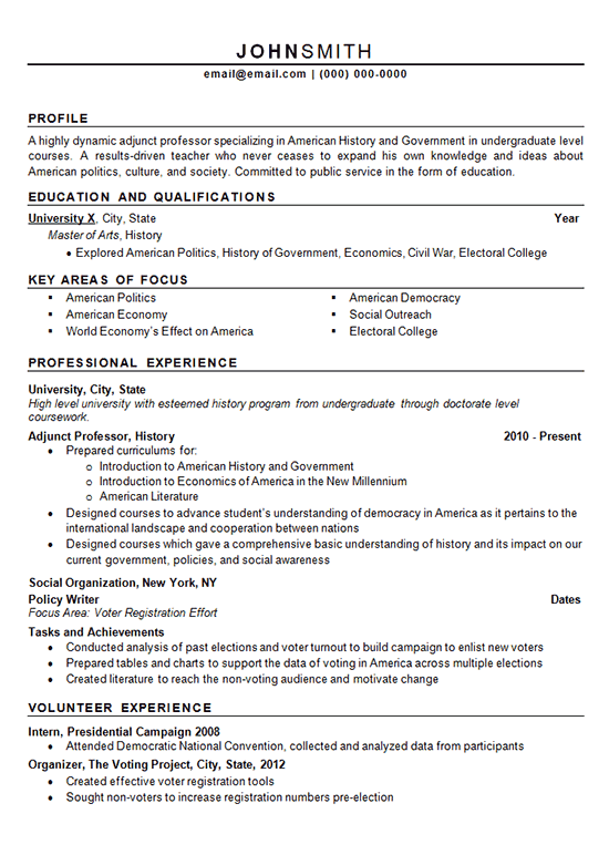 Resume Template University Professor  College Professor CV