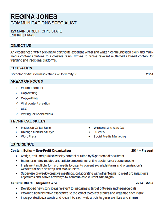 sample resume examples for communication