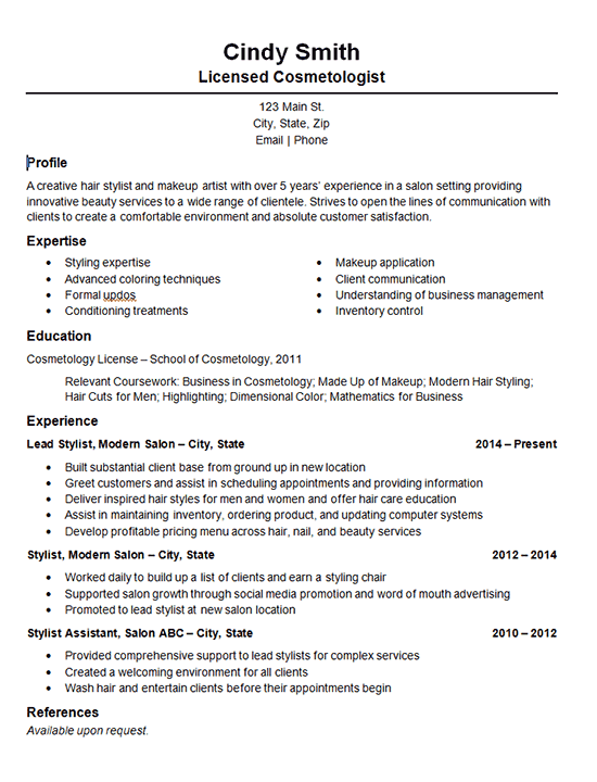 Cosmetology Salon Stylist Resume Example
