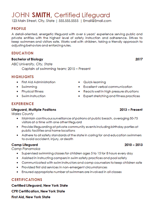 examples of resumes with certifications