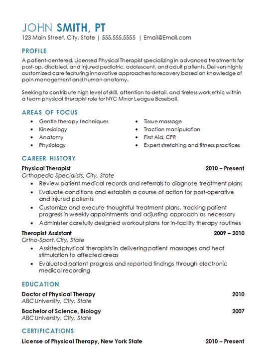 Sample Pta Resume