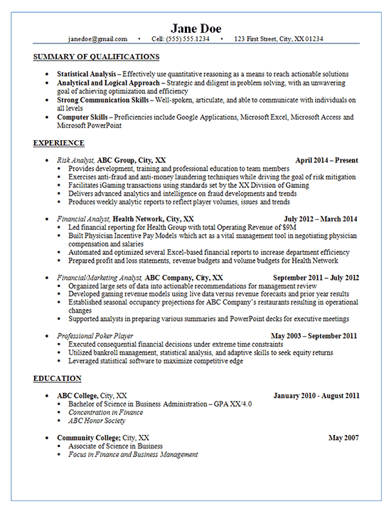 Risk Analyst Resume Example  Financial  Marketing Analysis