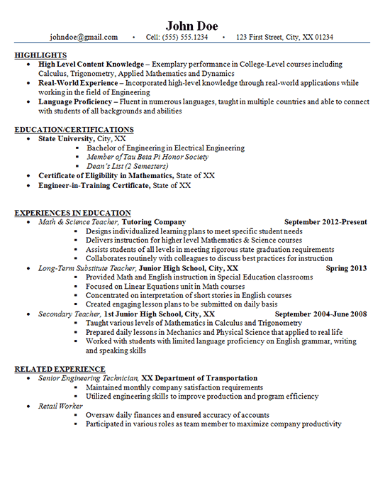 Junior High School Teacher Resume Example - Math and Science
