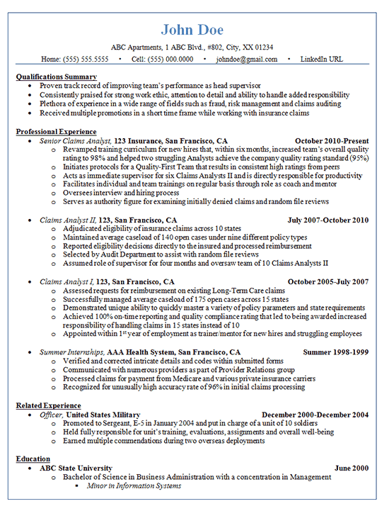 Claims Analyst Resume Example  Insurance and Finance