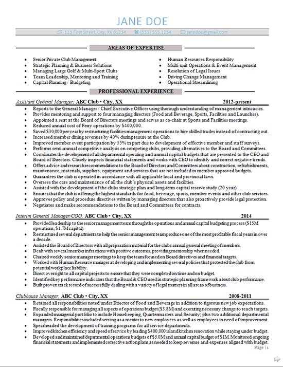 General Manager Resume Example Sports Club Management