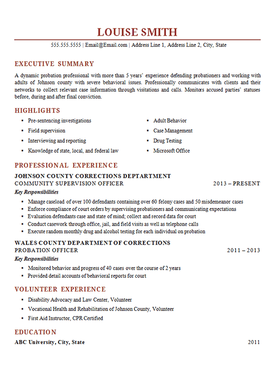 Probation Officer Resume Example  Corrections Supervisor